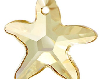 20mm Swarovski Golden Shadow Star Fish 6721 Crystal Pendant - Loose Crystal