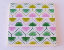 Aztec Palm Print Ceramic Tile Coasters - 4 Piece Coaster Pack - Tropical - Fern - Palm Leaf