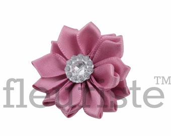 MAUVE Ribbon Flower With rhinestone center, Satin flower, Fabric rose, Rolled Rosette, Wholesale Flower, Fabric Flower, Satin Flower, 3pc