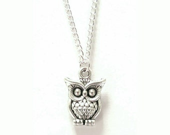 Tiny Silver Owl Necklace // Little Silver Owl Pendant