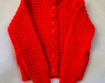 HAND KNIT CARDIGAN/Red Gender Neutral Bright Red Toddler Sweater/Spring Children's Cardigan
