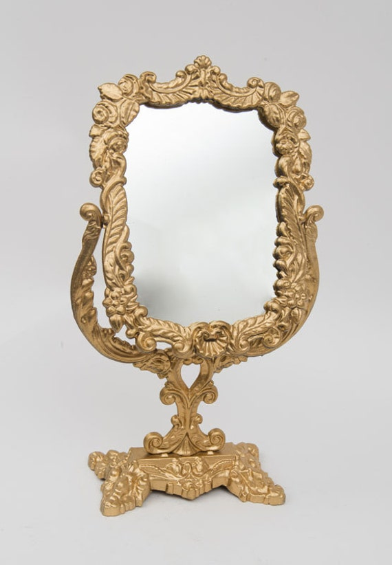 Victorian Antique Mirror brass with Gold plaited