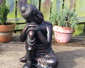 Decorative large resin aged copper GARDEN meditating sleeping resting BUDDHA STATUE