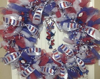 Fourth of July Deco Mesh Wreath