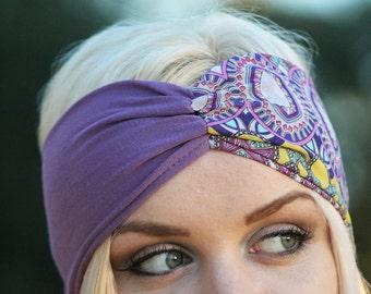 Purple/Egyptian Rouched Turban Headband
