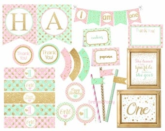 Pink Mint and gold Birthday Decorations, pink mint and gold party package, 1st Birthday Decorations, Digital File.