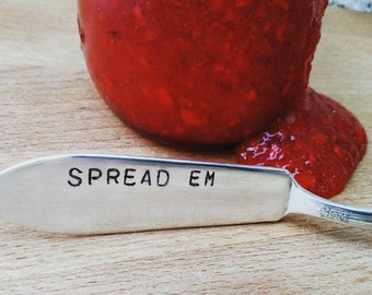 Spread em * hand stamped spreader * vintage silverplate * police gift * cute * officer * retirement * housewarming gift * unique * funny