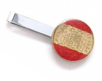 Spain Tie Bar Clip Tiebar Tieclip Suit Espana Coin Crest Seal Money Trade Finance Europe