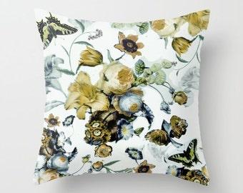 Floral throw pillow cushion, vintage flowers, decorative pillow, yellow, blues, white, print both sides