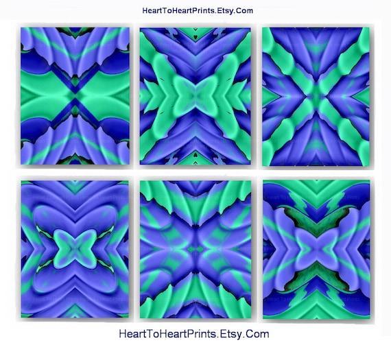 Teal Green Wall Decor : Items similar to ikat teal mint purple navy art print