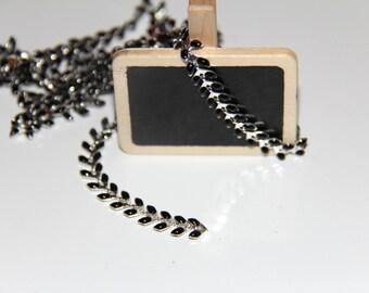 Fancy black enamelled silver base ear chain
