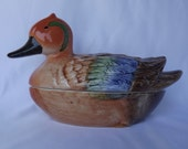 Authentic French Duck Terrine - Faience Terrine Michel Caugant Foie Gras Dish - French Country Cottage Kitchen - Shabby Chic