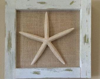 Framed Starfish on Burlap