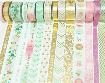 """Pink, mint, & gold foil washi tape 24"""" sample, decorative tape, washi tape, recollections washi tape"""