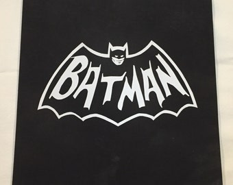 Retro Batman logo painted wood art matte black & white