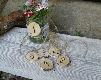 10 Personalized Rustic Natural Wood Slices with Table Numbers, Rustic Wood Slices with Personalized Woodburning