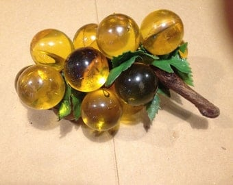 1960's Amber Lucite/Acrylic Grape Cluster - Vintage Decor