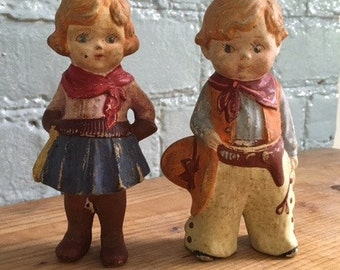 ADORABLE 1940's bisque cowboy and cowgirl dolls