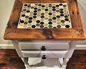 Reclaimed wood nightstand - early 1900's pumpkin-pine top with mosaic glass and stone tile inlay