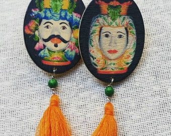 Earrings mori Sicilians in wood and silver