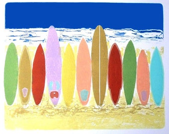 Surf's Up (Collagraph)