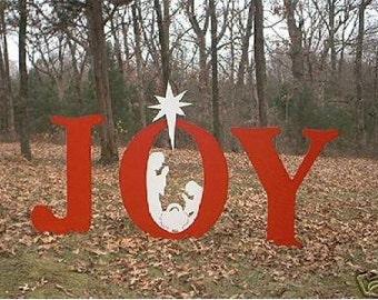 JOY Christmas Nativity Creche Manger Crib Jesus Christ Yard Lawn Art Ornament Decoration