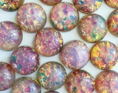 15mm Round Fire Opal Glass Cabochon with Flat Back and Low Dome--sold as pair (2)