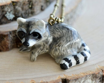 Hand Painted Porcelain Raccoon Necklace, Antique Bronze Chain, Vintage Style Racoon, Ceramic Animal Pendant & Chain (CA143)