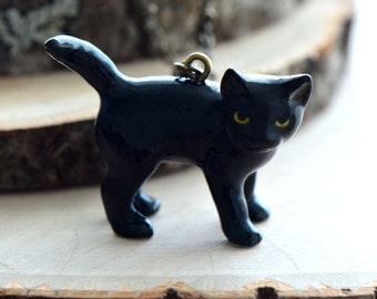 Hand Painted Porcelain Black Cat Necklace, Antique Bronze Chain, Vintage Style Kitten, Ceramic Animal Pendant & Chain (CA079)