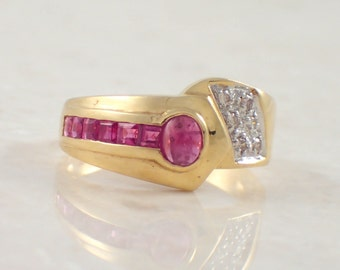 18K Yellow Gold Ruby and Diamond Band
