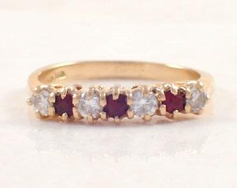 14K Yellow Gold Diamond and Garnet Band