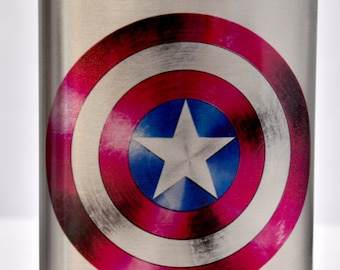 Stainless Steel Captain America Inspired 8oz Flask