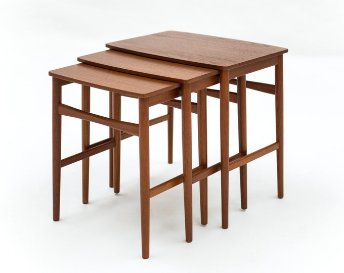 Danish Mid-Century Modern Teak Nesting Tables Attributed to Hans Wagner