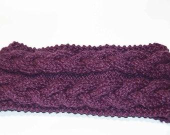 Wool infinity scarf purple braided, handmade