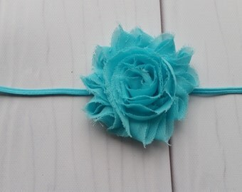 "Large (2.5"") Shabby Chic Aqua Flower on Skinny Elastic Headband"