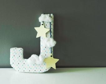 Custom Monogram letter, baby boy nursery, fabric, clouds, stars, home decor, nursery decor, kids decor, event decor, gift  - Free shipping
