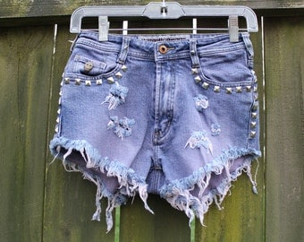 Purple High Waisted Denim Shorts