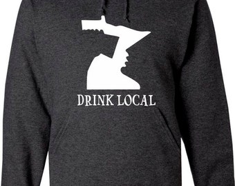 Heather Charcoal Hood Sweatshirt with White Drink local and Minnesota map drinking guy