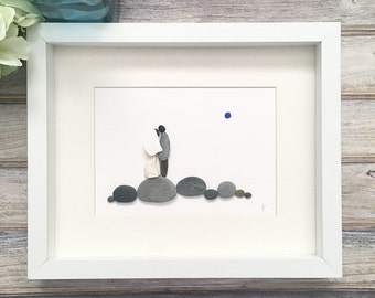 Wedding Pebble Art, Unique Bridal Shower Gift, Bride And Groom Picture, Wedding Keepsake, Wedding Gifts For Couple Anniversary Gift For Wife