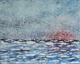 Abstract Mixed Media, Watercolor, Linocut Sunset Landscape, Sea Sunset, Original Wall Art, Art, Modern Art, Blue Sea Layer Artwork, Art Gift