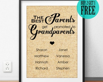 Father's Day Gift, Gift for Parents, Gift for Grandparents, Personalized Gift, Burlap Print, Sign, Housewarming, Home Decor, Wall Art, CM22