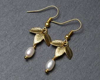 Gold Leaf Earrings, with Freshwater Pearls. Gold Pearl Earrings. Gold Flower Earrings.