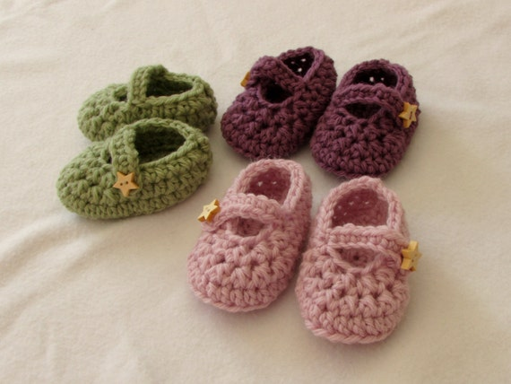 Crochet Baby Booties Written Pattern : Crochet Baby Mary Jane Shoes / Booties Written Pattern