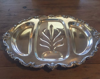 Orleans (International Silver) 3-Part Footed Meat Platter. Silver Plate Footed Platter