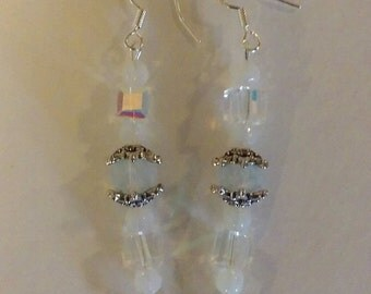 SS Sea Opal and Swarovski Crystal Dangle Earrings