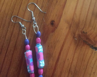 Paper and wood bead earrings