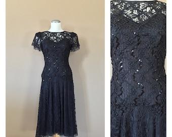 Stunning 80s Prom Dress / 80s Party Dress / Prom Dress / 90s Prom Dress / Black Party Dress
