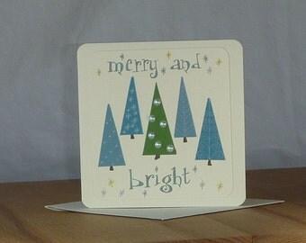 Retro Trees Christmas Card
