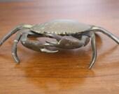 Vintage Brass Crab Ashtray - Brass Crab Trinket, Crab Figure, Nautical Decor, Crab Decor, Beach Decor