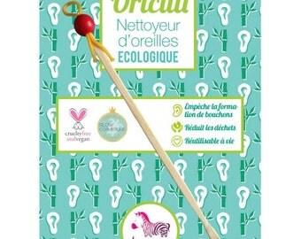 Green red - q-tip reusable bamboo - cleaner ears Lamazuna Oriculi - replaces wadding sticks